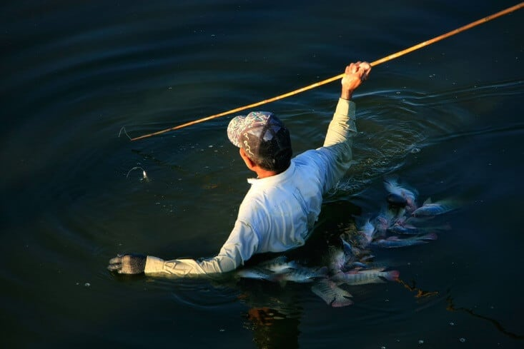 Fishing with a spear