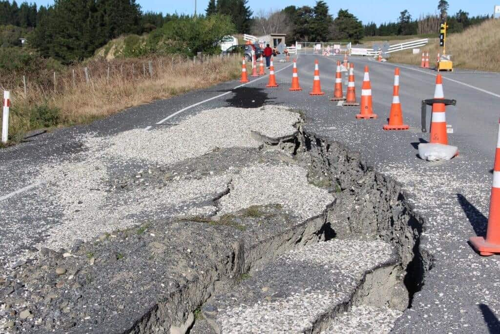 Highway destroyed by earthquakes