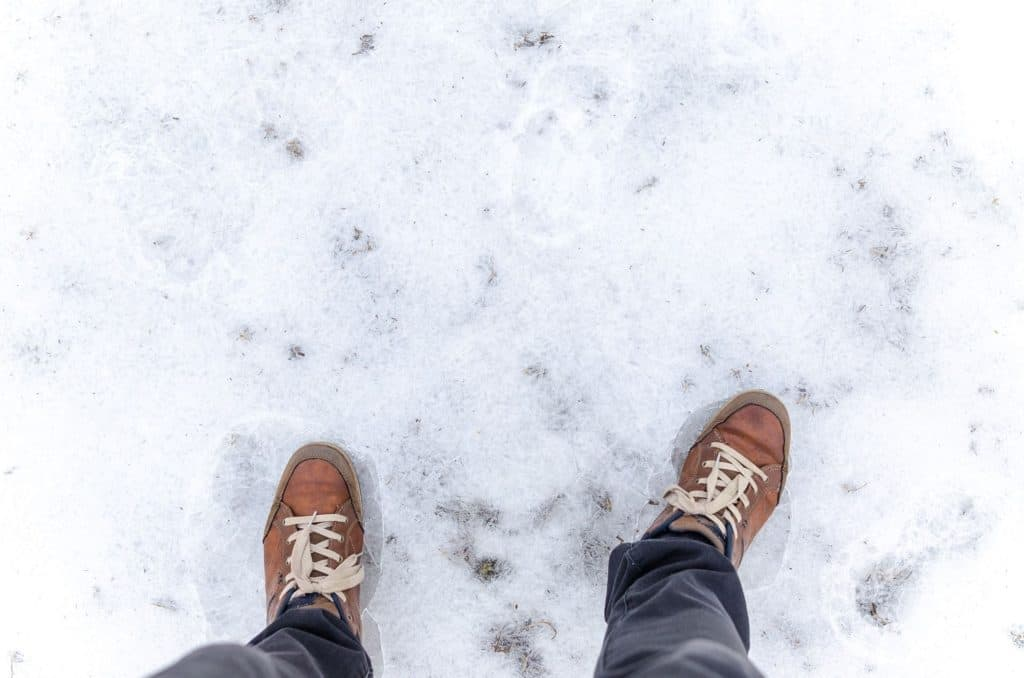 Walking On Icy Road