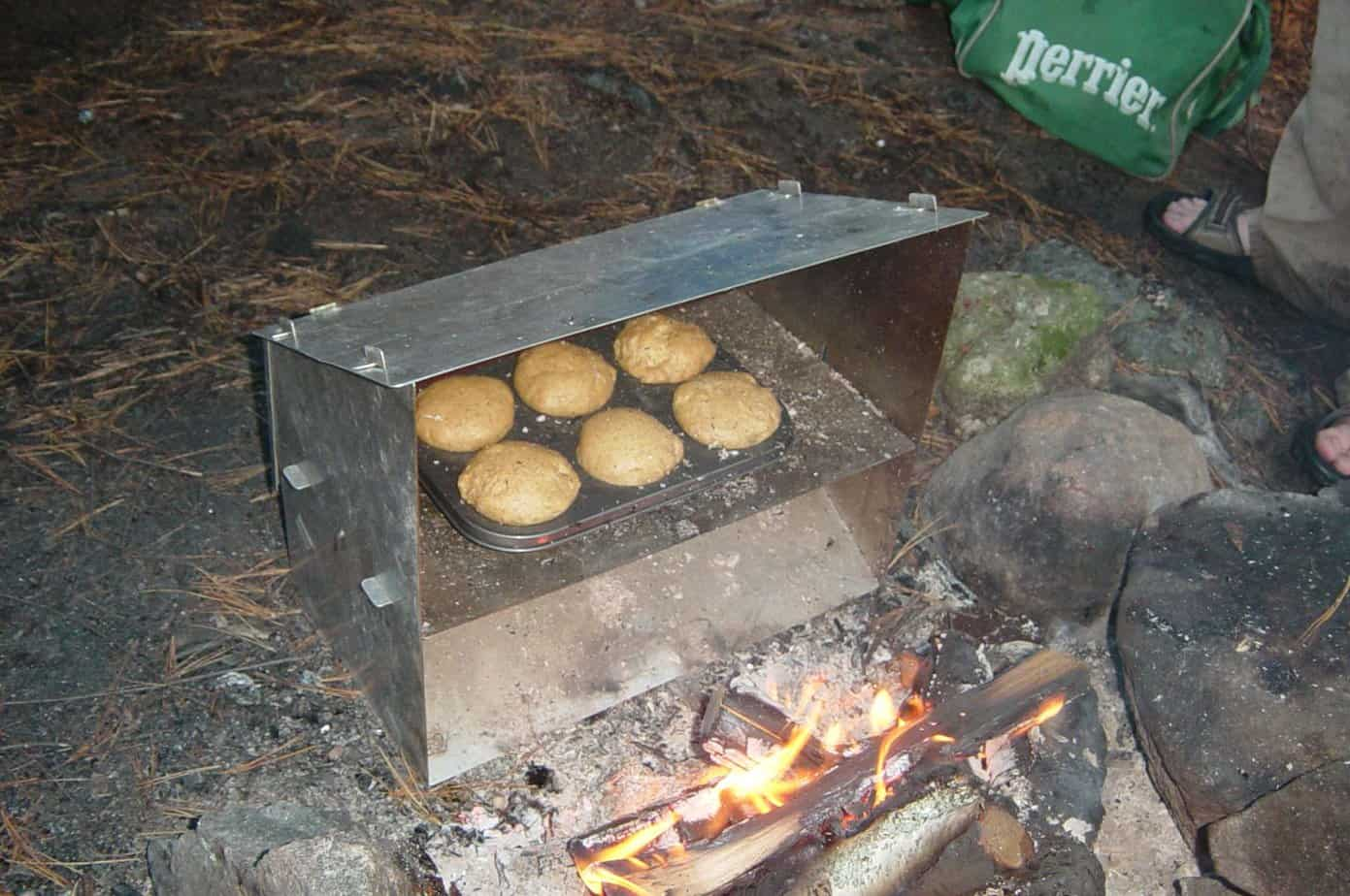 cooking with a reflector oven in the wilderness