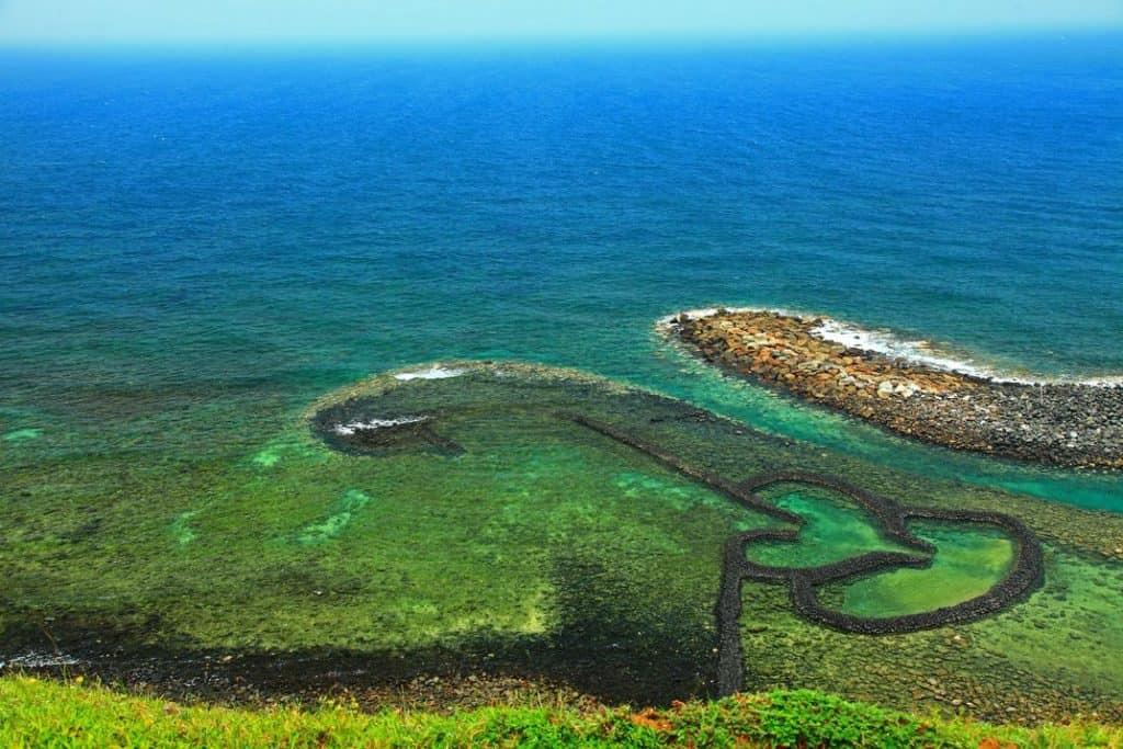 fish traps on the coastline